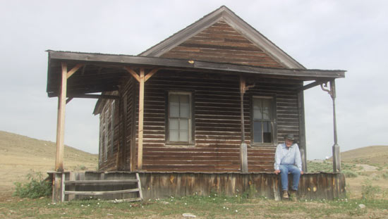 Dayton at the one-room schoolhouse which he preserved.